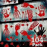 Winmayer 104 Pack Halloween Party Decoration Stickers,Bloody Handprint Footprints Stickers Clings Decals Bloodstain Indoor/Outdoor for Wall Door Window Floor Bathtub Haunted House Party Supplies Decor