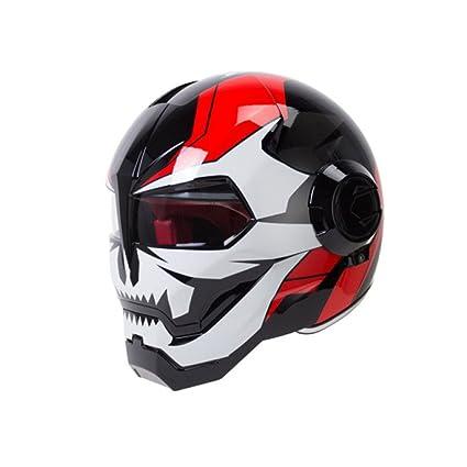 JPFCAK Casco Personalizado para Motocicleta Predator Casco Portátil para Lente Harley Harley Casco Vintage,C