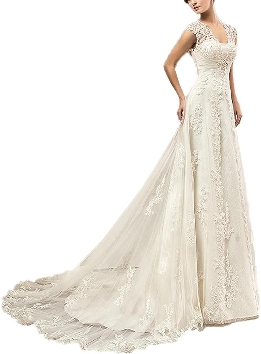 CoCogirls Spitze Hochzeitskleid Kappenhülsen Perlen Korsett Schlüsselloch  Rückenfrei Hochzeitskleider Gericht Zug Übergröße Brautkleider