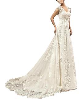 589d0ba443e3ee CoCogirls Spitze Hochzeitskleid Kappenhülsen Perlen Korsett Schlüsselloch  Rückenfrei Hochzeitskleider Gericht Zug Übergröße Brautkleider