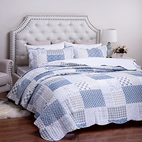 Bedding Quilt Set luxury bedroom bedspread Blue Flower PATIO Pattern Full Queen size 86X96 Microfiber Lightweight vintage by Bedsure - Full Queen Quilt Bedding