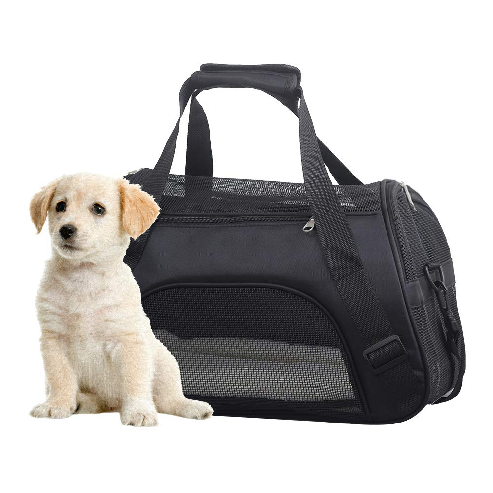 Airline Approved Soft Sided Pet Carriers, Low Profile Travel Tote with Cozy and Soft Dog Bed, Collapsible, Travel Friendly, Pet Travel Carrier Bag for Small Dogs, Cats, Puppies, Kittens, Small Pet AOTOP