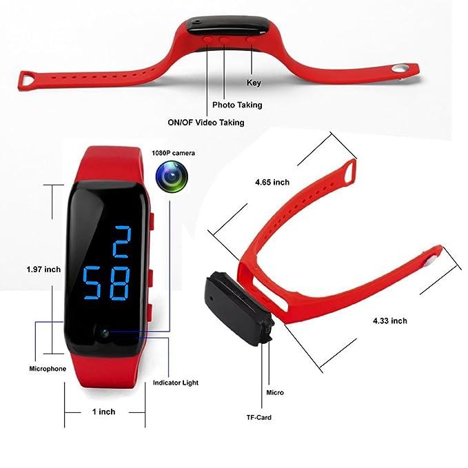 Ocultar HD Mini DV 1080P Cámara Espía recargable Pulsera deportiva reloj pulsera videocámara de vigilancia con la función de vibrar@Laing: Amazon.es: ...