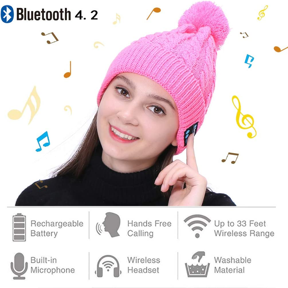 Wireless Bluetooth Beanie Hat Bluetooth 4.2 with Detachable Stereo Speakers and Microphone Winter Outdoor Sport Bluetooth Knitted Cap for Audio...