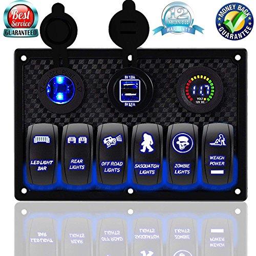 - DCFlat Waterproof 3 Gang / 4 Gang / 6 Gang Circuit LED Car Marine Boat Rocker Switch Panel with Fuse Dual USB + Power Socket Breaker Voltmeter Overload Protection (6 Gang Laser)