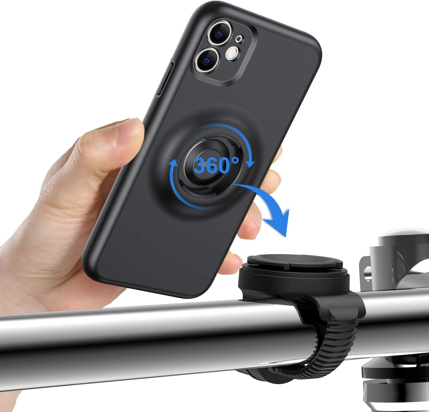 360/° Rotation Universal Motorcycle Phone Mount with Quick Lock for iPhone 11 VUP Detachable Phone Holder with Fully Protective Shockproof Hard iPhone 11 Case Bike Phone Mount Designed for iPhone 11