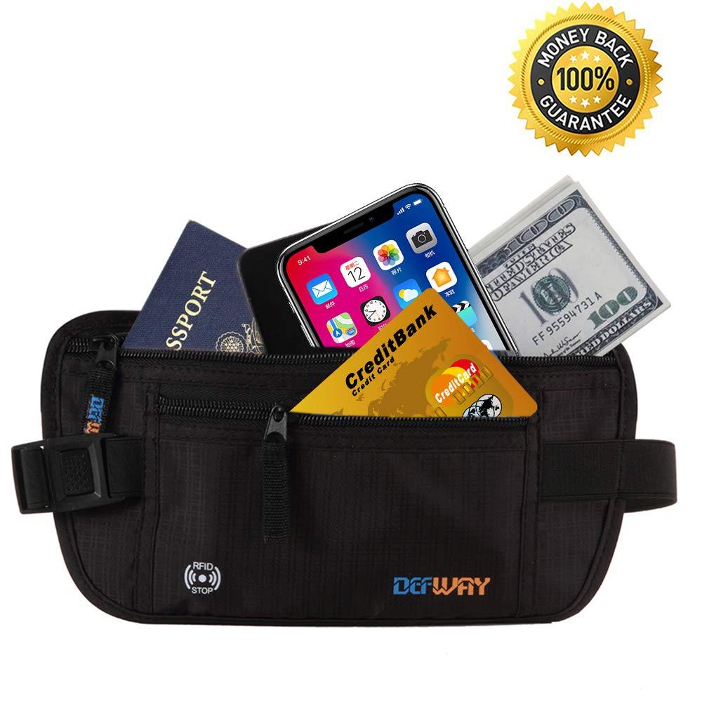 Travel Money Belt Waist Fanny Pack RFID Blocking Passport Holder Pouch for Men DEW C0002GRY