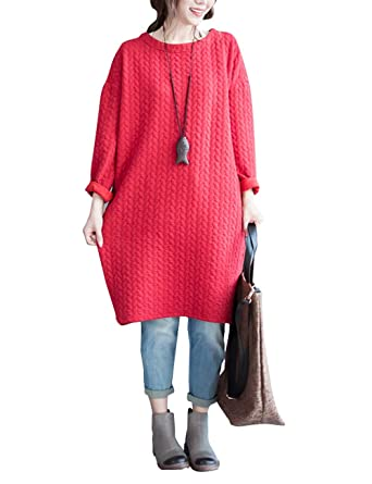 4c73a61ec587 Womens Autumn Winter Leisure Baggy Cotton Pullover Long Sleeve Mid Tunic  Dress(L, Red) at Amazon Women's Clothing store: