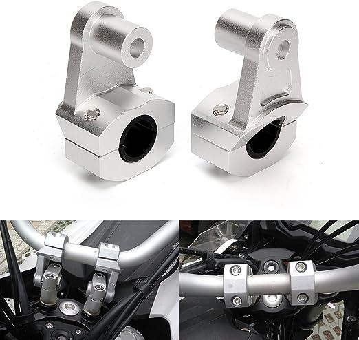 Triclicks 2 Stücke Aluminium 7 8 22mm Universal Motorrad Lenkerklemme Lenkerhalterung Lenkerhalter Lenkererhöhung Montageadapter Silber Auto