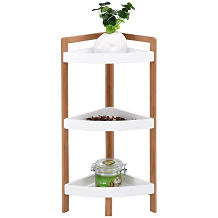 Giantex 3 Tier Corner Shelf Free Standing Corner Rack Tower Organizer  Living Room Bathroom Kitchen Shelving Shelf Storage (Natural & White w/ 2\'\'  Deep ...