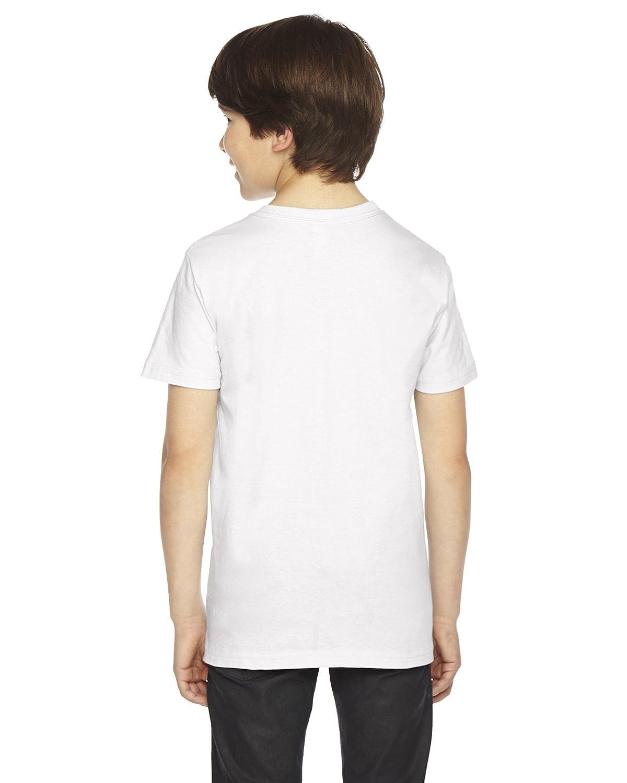 12 2201 American Apparel Boys Fine Jersey Short-Sleeve T-Shirt -WHITE