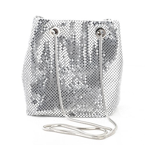 Evening Handbags Clutch Purses for Women Metal mesh Chain Mail Soft Bucket Bag Shoulder Bags in Silver