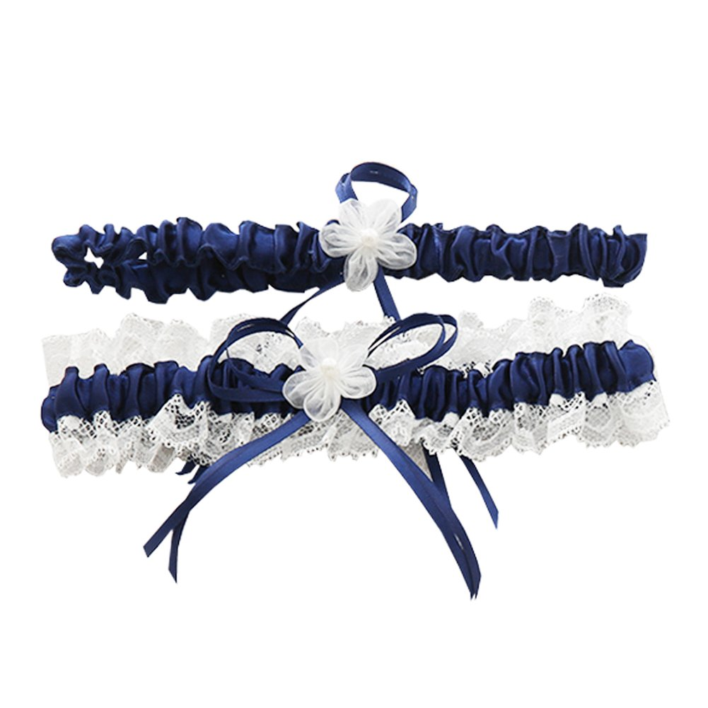 Rimobul Lace Wedding Garters with Toss Away - Set of 2 (Royal Blue) product