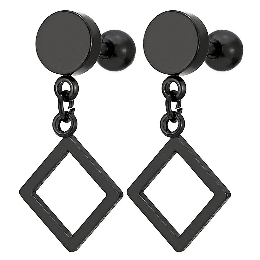 1 Paire Noir Cercle Boucles d'oreilles avec Pendantes Creuse Carré - Homme Femme Garçons - Acier Inoxydable - Revisser COOLSTEELANDBEYOND ME-896