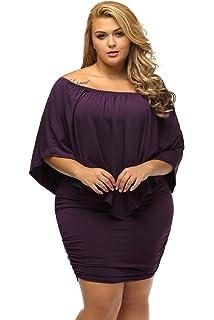 d74e3abbb38 Gloria Sarah Women s Sexy Off Shoulder Ruffles Multiple Dressing Layered Plus  Size Mini Dress