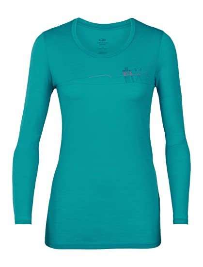 5c7adacee1 Icebreaker Merino Women's Tech Lite Long Sleeve Low Crewe Skis in Snow  Athletic T Shirts,
