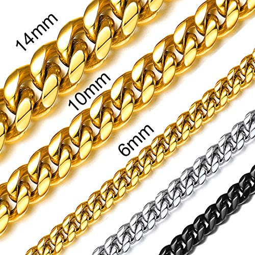 ChainsHouse Men Women 18K Gold Plated Miami Chain Hip Hop Fashion Jewelry Boys 5mm Wide Curb Cuban Link Necklace, 24 ()