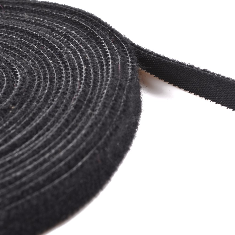 Cosmos 3 8 Inch Black Color Hook and Loop Fastening Cable Tape Tie 16 Feet length