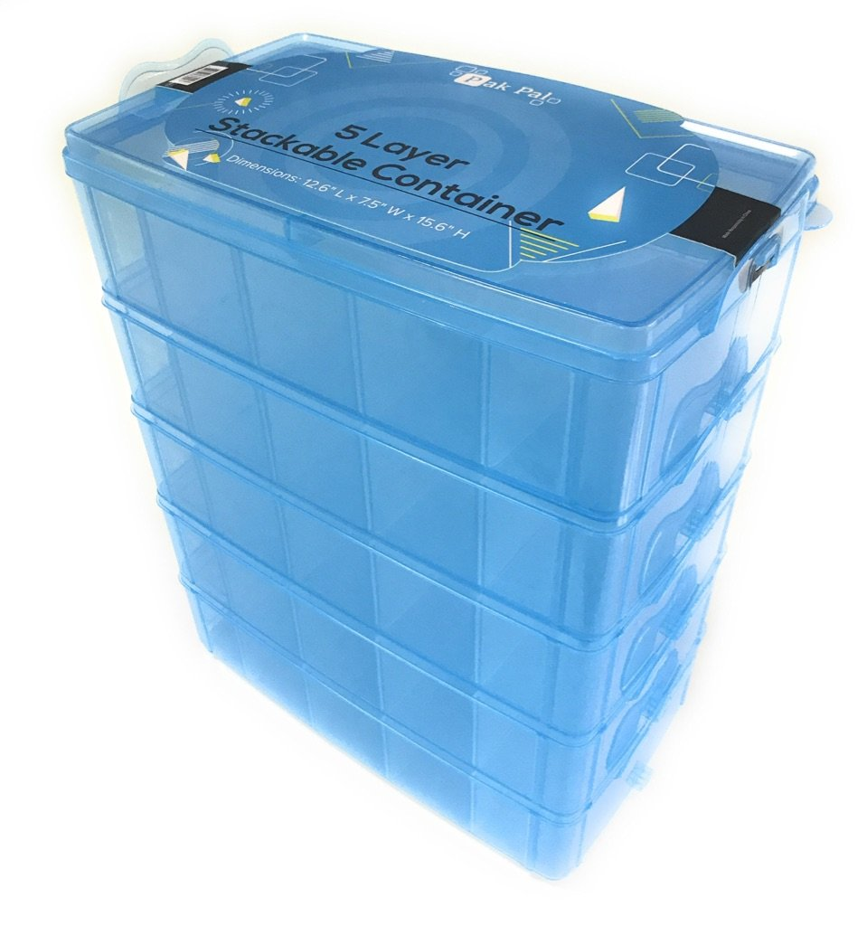 Stackable Storage Container Blue | Toy Organizer Box with 5 Layers of Adjustable Compartments | Carrying Case for Tidy Kids | Ideal for Shopkins, Lego, Littlest Pet Shop, Hot Wheels and Ozobot