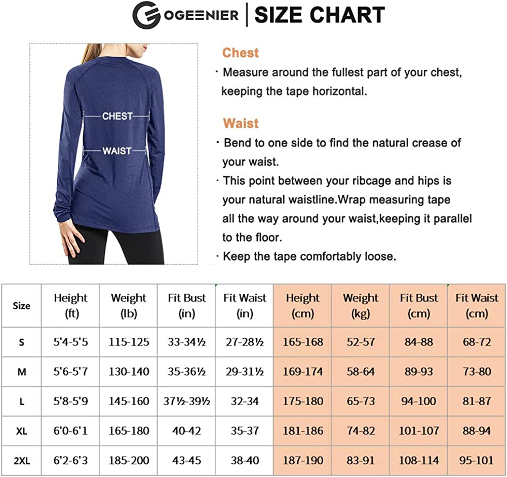 Ogeenier Womens V Neck Dri Fit Long Sleeve Running Workout Shirts Yoga T-Shirt Athletic Tops with Thumb Holes