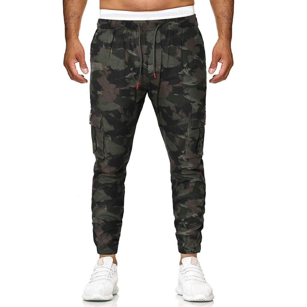 ANJUNIE Men's Camouflage Basic Stretch Sweatpants with Pocket Slim Fit Sport Long Jeans Pants Trousers Outdoor(Army Green,XL)