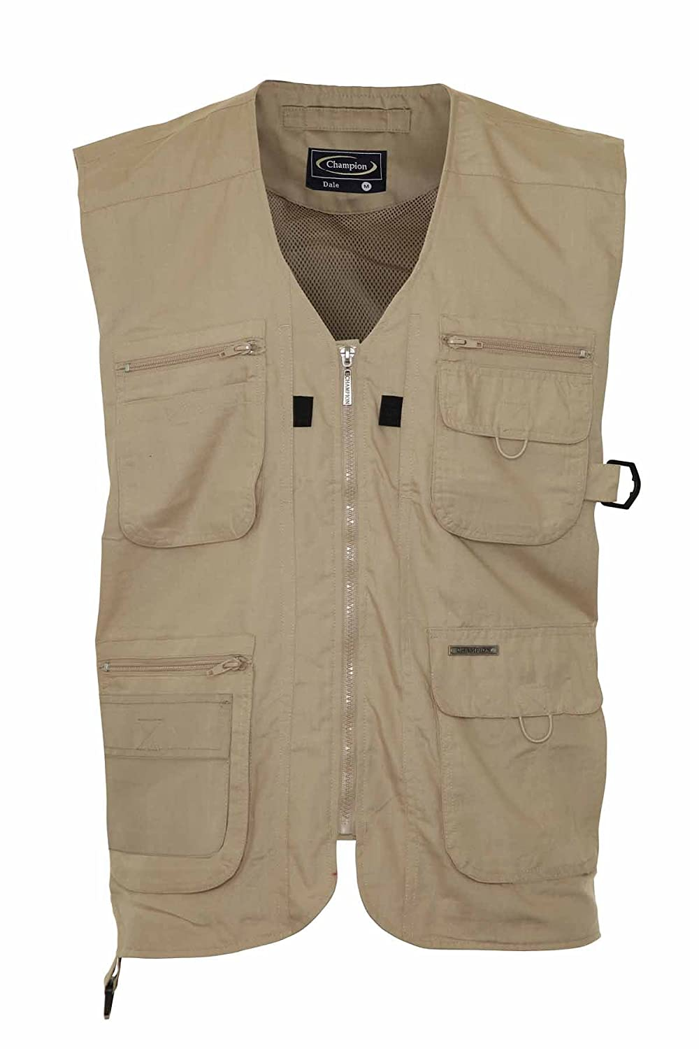 Mens Summer Waistcoat With Multi Pockets Outside Gilets (3X-Large, Stone)