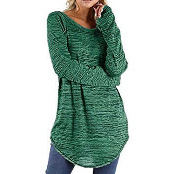 9c371a332d7 Amazon.com  Snowfoller Women Blouse Plus Size Solid Color O-Neck Long  Sleeve Long Sweater Autumn Pullover Tops Shirt  Beauty