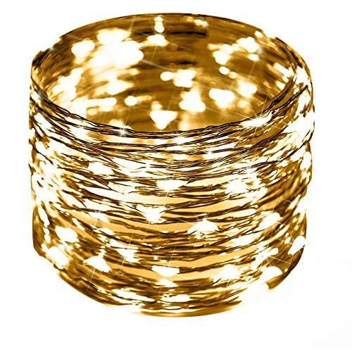 CrazyFire LED String Lights, Fairy String Light 33ft 100 LEDs Waterproof Decorative Starry Lights for Bedroom, Patio, Parties (Copper Wire Lights, Warm White)