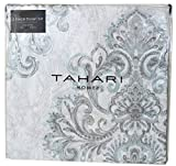 Tahari Home Dusty Bonnet Blue Metallic Silver Vintage French Damask Paisley Medallions 3pc King Duvet Cover Set Muted Blue Antique Bothe Style Bohemian (King)