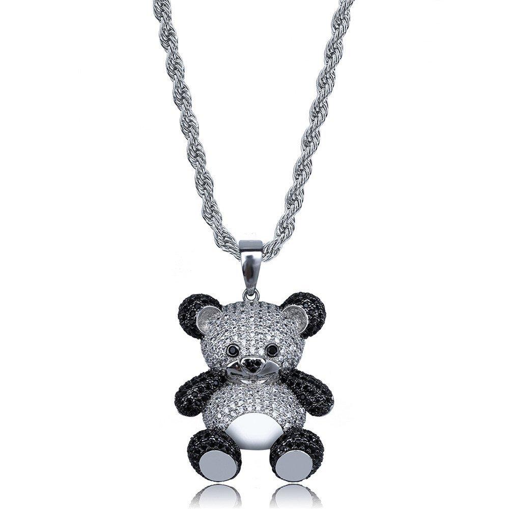 Jewelrysays Hip Hop Men CZ Jewelry Gold Cute Min Cartoon Panda Shape Pendent Necelace