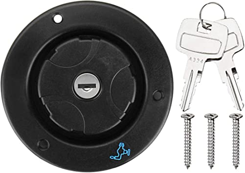 Fresh Water Locking Inlet Hatch Filler Cap for Motorhome Caravan 2 Keys Black