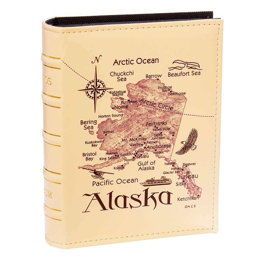 Longpro Imitation Leather Photo Album Insert Pocket Hold 4 x 6 Photos Collection PU Cover Book Bound Alaska Map Travel Souvenir Family Vacation Birthday Wedding Memory Holder by Longpro