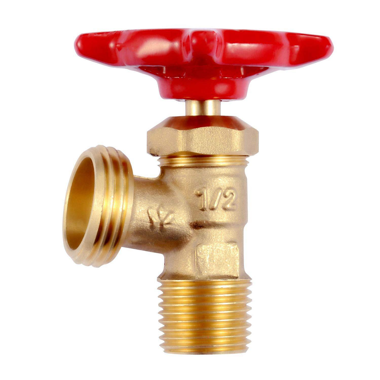 "Litorange 2 PCS Brass 90 Degree Elbow Stop Valve Hose Bibb Boiler Drain NPT 1/2"" Male Thread to Male GHT 3/4"" Inch Male Threaded Garden Connector Adapter Water Shut-Off Valve Faucet"