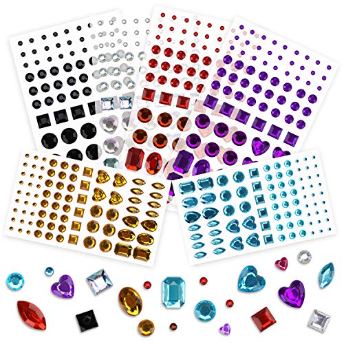 - Phogary 486pcs 6 Sheets Self-Adhesive Rhinestone Sticker, Multicolor Bling Craft Jewels Crystal Gem Stickers, Assorted Size and Shapes