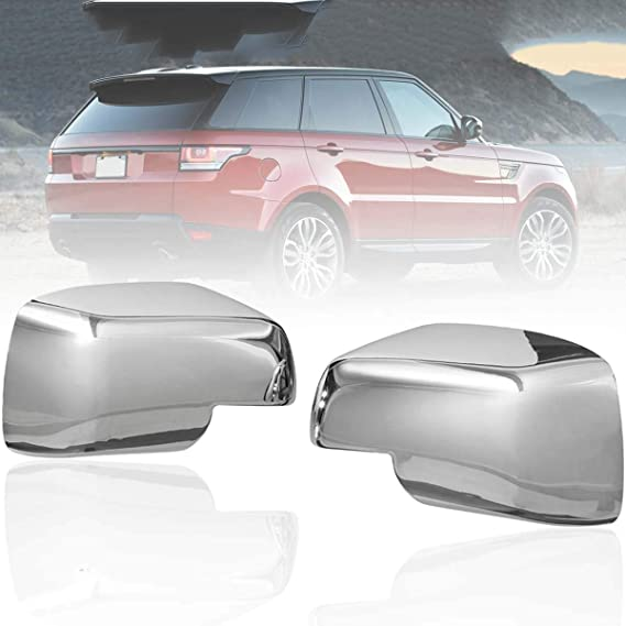 Pukido Pair Full Chrome Wing Side Mirror Covers Caps for Land Rover Discovery 3 Range Sport Freelander 2 2004 2005 2006 2007 2008 2009