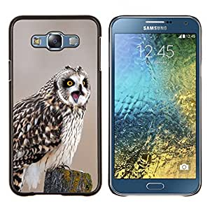 EJOOY---Cubierta de la caja de protección para la piel dura ** Samsung Galaxy E7 E700 ** --Búho Screaming divertido