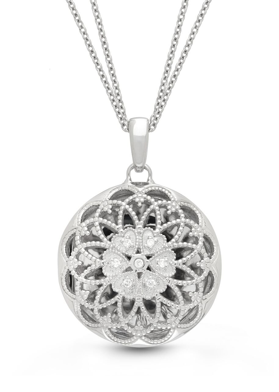 Sterling Silver-Diamond-Filigree-Custom Photo Locket Necklace-26inch chain-The Elaine by With You Lockets
