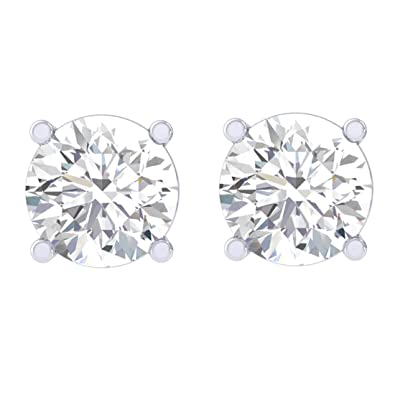 b372ffd77 Buy Clara 92.5 Sterling silver White Gold Plated Round Brilliant Solitaire  Stud Earring Screw Back For Women & Girls Online at Low Prices in India |  Amazon ...