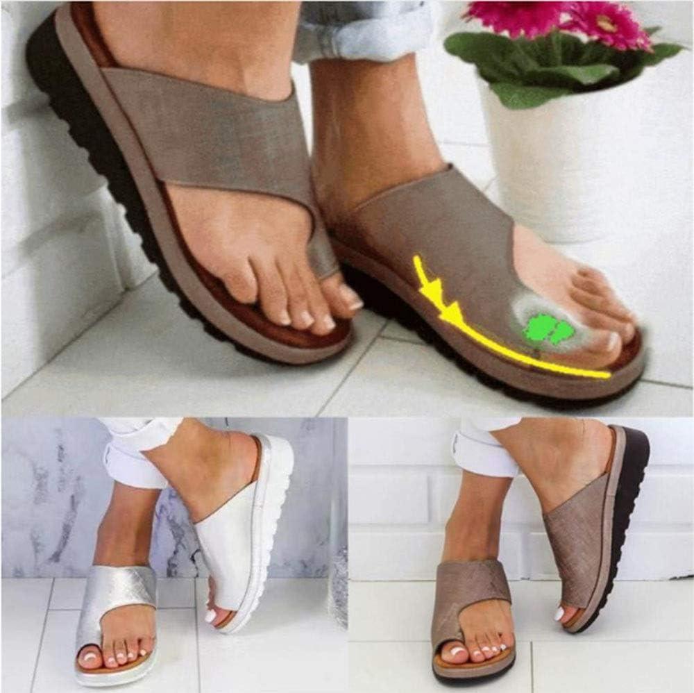 Hyxxd Pantoufles pour Femmes orthopédiques, Petit Cercle, orthèses, Sandales, Chaussures d'été, compensées, Tongs pour Femmes, Sandales Plates
