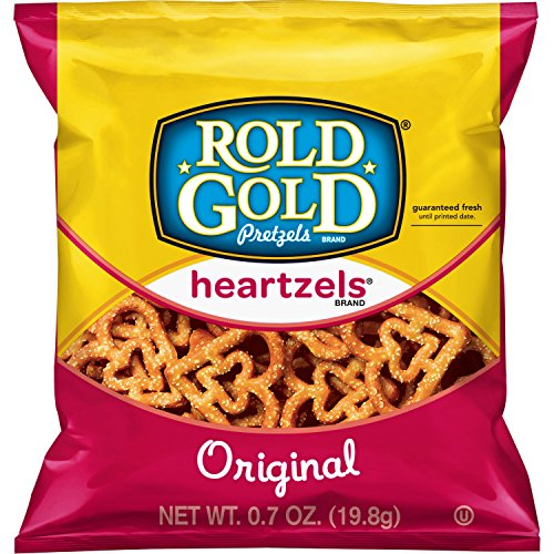 Rold Gold Heartzels Heart Shaped Pretzels, 0.7 Ounce (Pack of 104) (Food Heart Shaped)