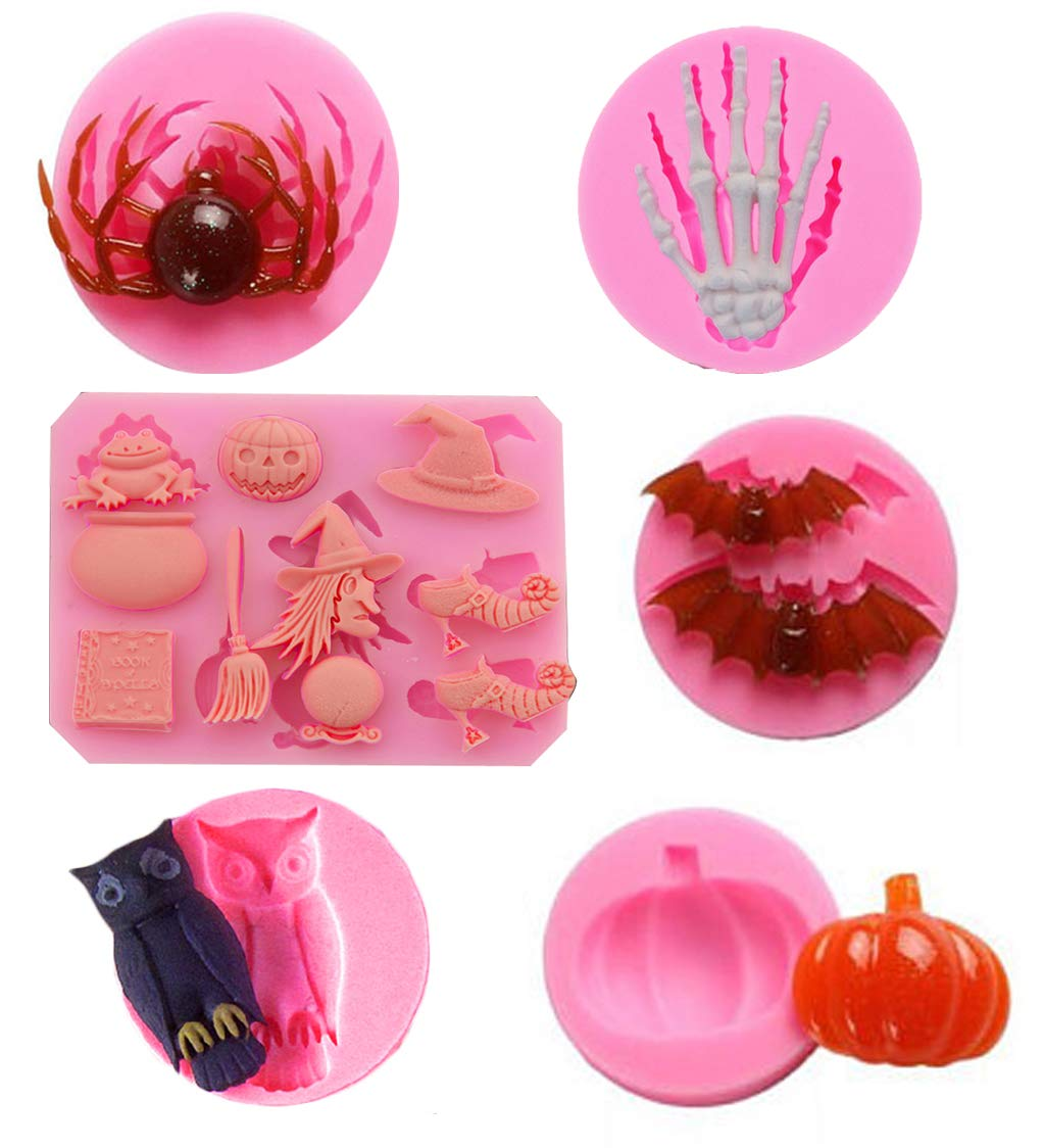 Halloween Mold Silicone Halloween Fondant Mold Cake Pop Cookies Candy Chocolate Mold Set of 6 by A&J
