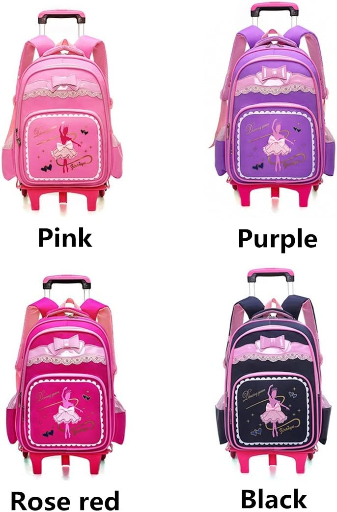 Fanci Bow-knot Dancing Girl Waterproof Elementary Trolley Rolling School Backpack Book Bag for Primary Girls Wheeled Backpack Carry On Luggage with Six Wheels