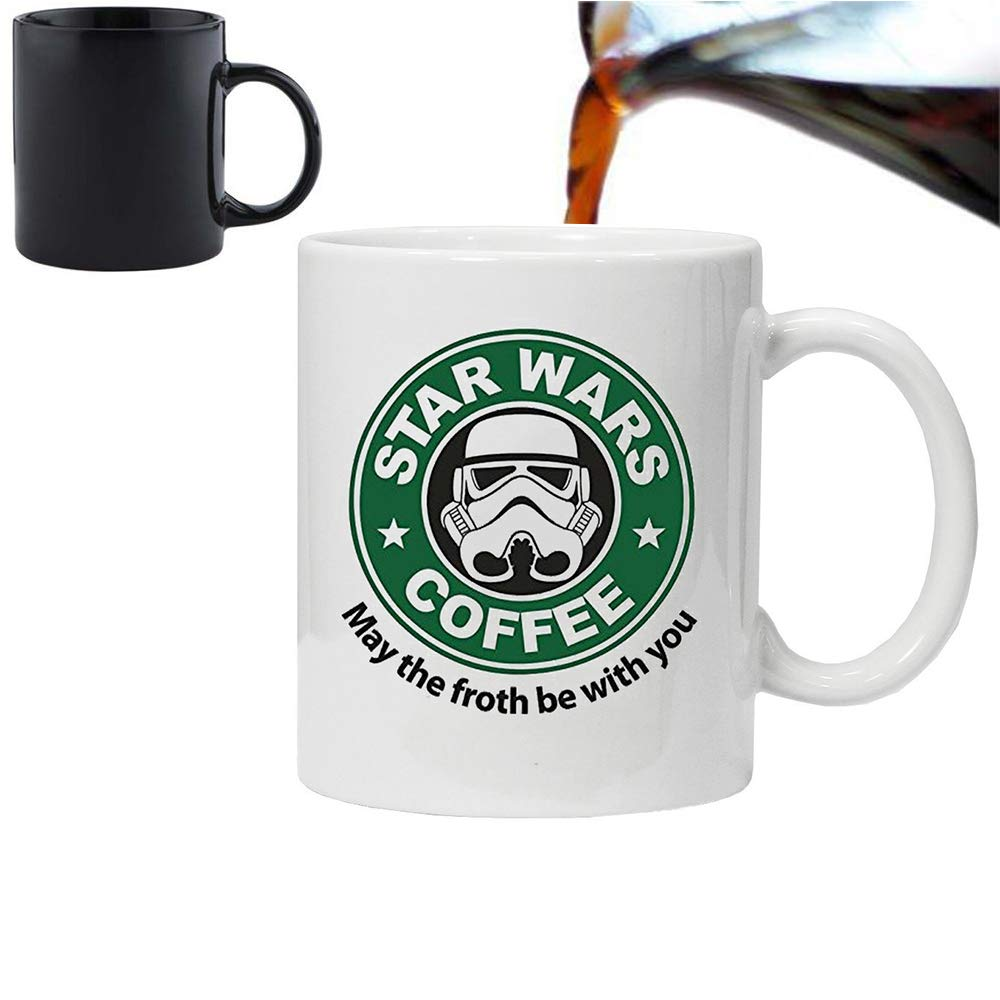 Magic Morphing Mug 11oz Cera Ceramic White Acen Star Wars Inspired May The Froth Be with You