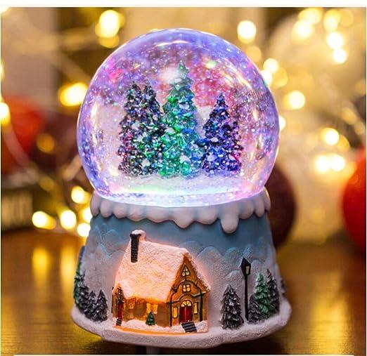 Iluminado Bola De Nieve Musical Box , Luz De La Navidad De Cristal ...