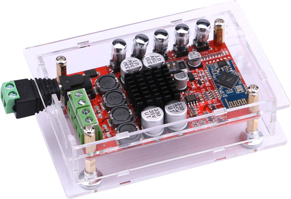 Audio Stereo Amplifier, Yeeco 50W+50W Hifi Mini Bluetooth Amplifier, Audio Receiver, Dual Channel Bluetooth Power Amplifiers Amp Ampli Board with Shell; Heatsink Chip & Free-welding Connector DC 8-20V by Yeeco (Image #3)