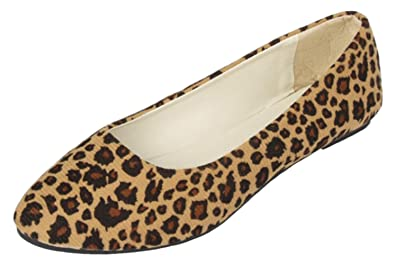 27d3df545c3 DADAWEN Women's Pointed Toe Leopard Pumps Ballerina Ballet Flats Shoes  Brown Size 6