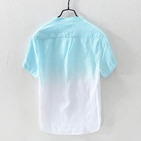 Xiloccer Summer Fashion Mens Casual Stand Collar Button Stripe Short Sleeve Top Blouse