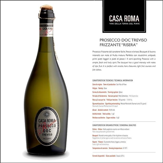 Casa Roma Shop White Wine Prosecco D O C  Treviso Frizzante Risera