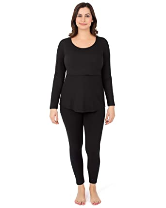 287079b33ea86 Kindred Bravely The Jane Maternity   Nursing Thermal Pajamas(Black ...