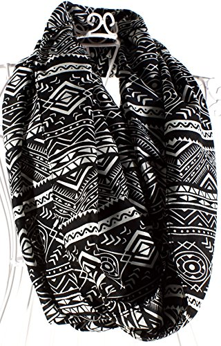 Black and White Abstract Design Loop Scarf made in Massachusetts